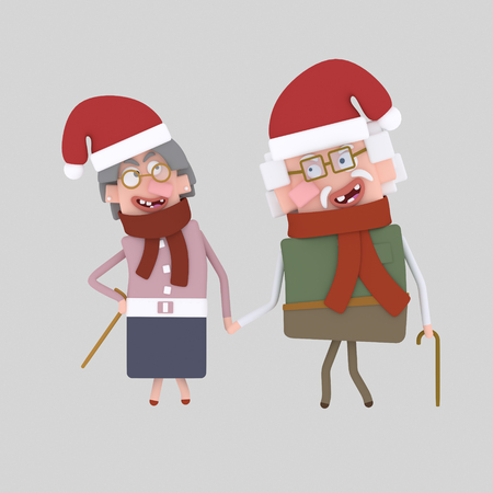 Christmas Grandparents gift. 3d illustration. Stock Photo