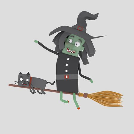 A witch flying on her broomstick.3d illustration.
