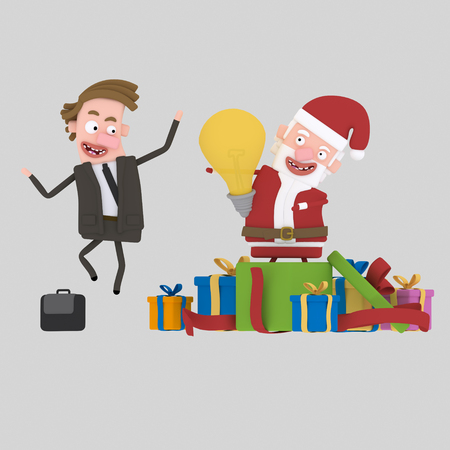 Santa gifting an idea. .3d illustration