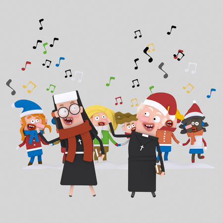Nun and priest singing xmas songs with kids..3d illustration