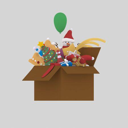 Ending Christmas box.3d illustration