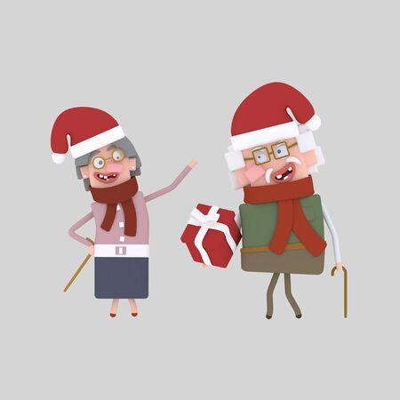 Old couple celebrating Xmas.3d illustration