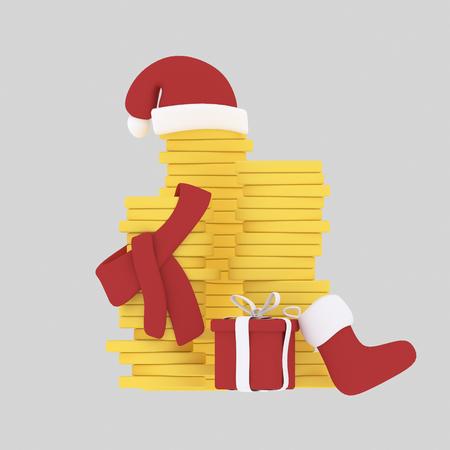 Christmas money.3d illustration Stock Photo