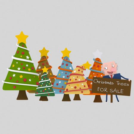 Christmas trees seller.3d illustration.