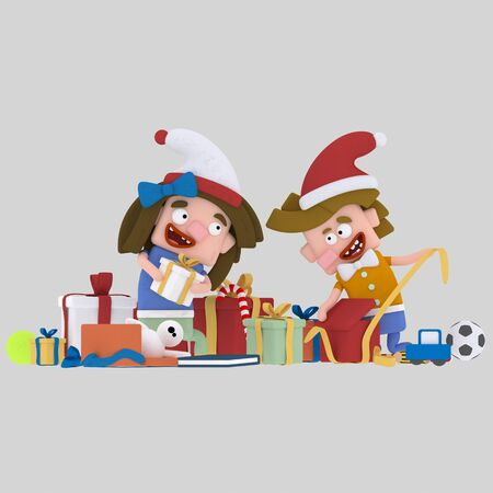Kids opening gifts .3d illustration. Stock Photo