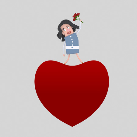 Woman standing on big heart. 3d illustration