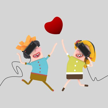 Virtual Reality couple in love. 3d illustration