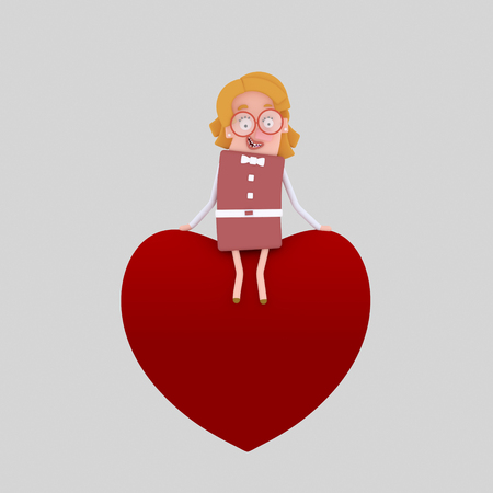 Woman sitting on a heart. 3d illustration