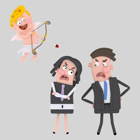 Cupid shooting at business couple. 3d illustration