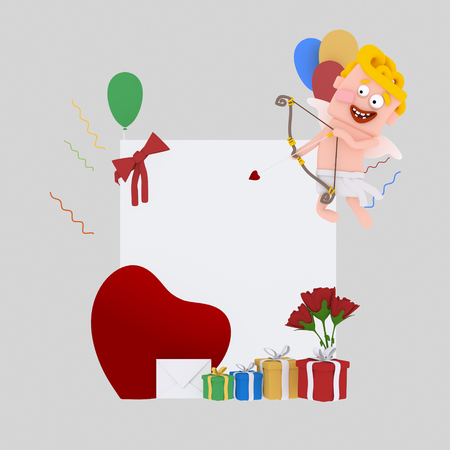 Cupid banner plackard .3d illustration Stock Photo