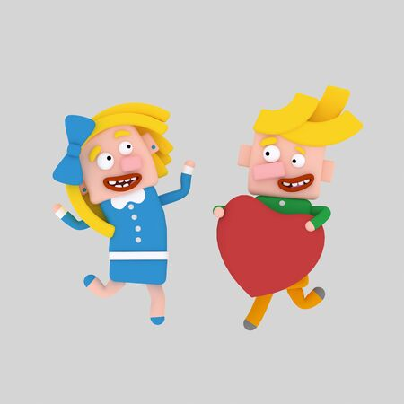 Kids in love 3d illustration