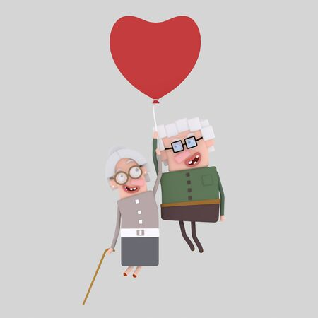 Old couple traveling in a heart balloon. 3d illustration