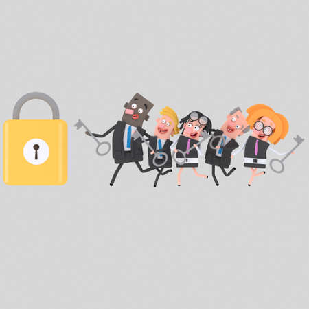 Business people running to opening a padlock. 3d illustration.
