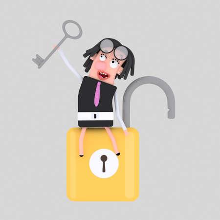 Businesswoman with opened padlock. 3d illustration. Stock Photo