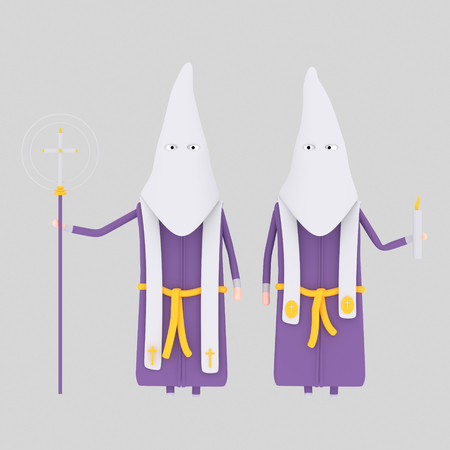 White and purple papon procession. 3d illustration. Stock Photo