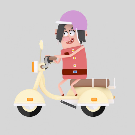 Girl driving motorcycle. 3d illustration. Stock Photo