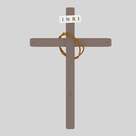 Cross Inri and Christ Crown. 3d illustration Banco de Imagens