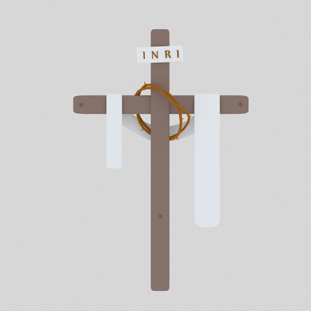 Cross Inri, toga and christ Crown. 3d illustration