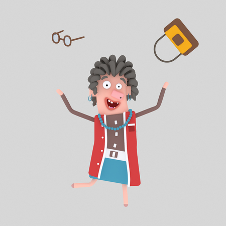 Happy old woman throwing out his handbag. 3d illustration