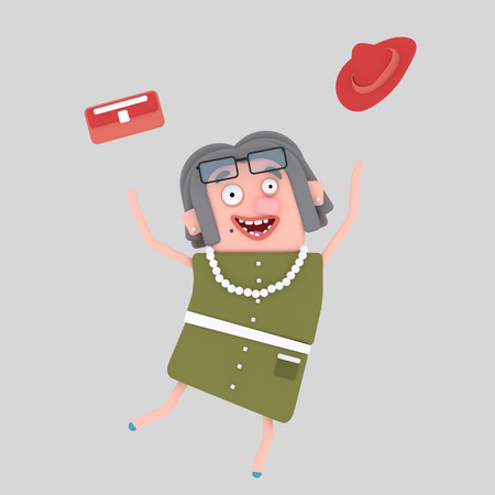 Old woman jumping. 3d illustration Stock Photo
