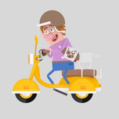 Man carrying dog on motorcycle. 3d illustration