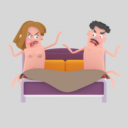 Couple arguing in the bed. 3d illustration