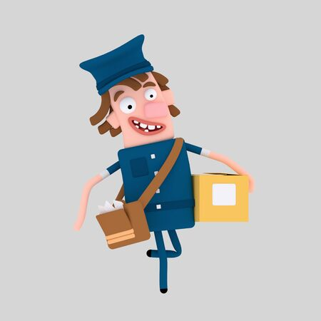Postman holding a packet box. 3d illustration Stock Photo