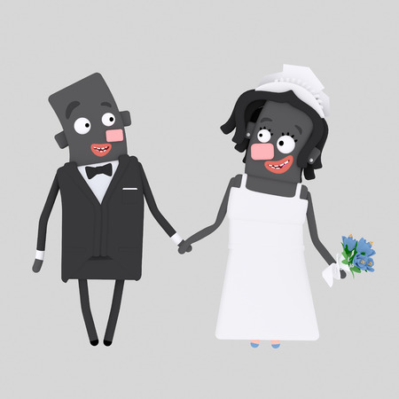 Black couple getting marriaged. 3d illustration Stock Photo