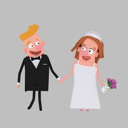 Bride and groom. 3d illustration Stock Photo