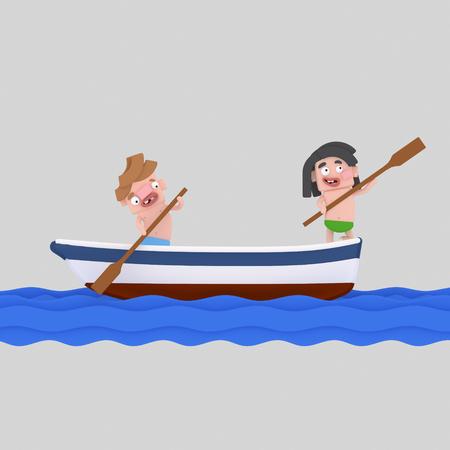 Kids on a boat ride. 3d illustration