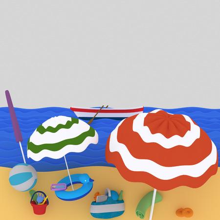 Beach. 3d illustration