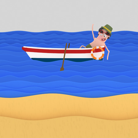 Relaxing man on boat at beach. 3d illustration 스톡 콘텐츠