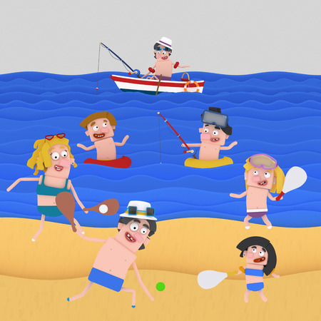 People enjoying at the beach. 3d illustration 스톡 콘텐츠