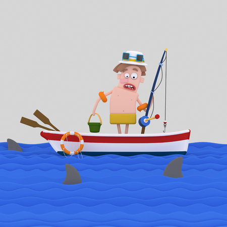 Scared fisherman looking at sea. 3d illustration. 스톡 콘텐츠