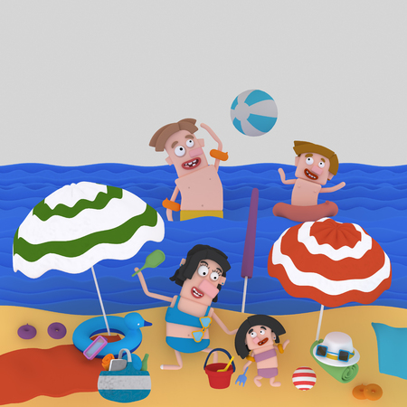 Family enjoying at beach. 3d illustration. 스톡 콘텐츠