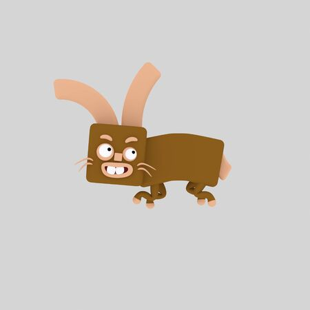 Brown rabbit. 3d illustration.