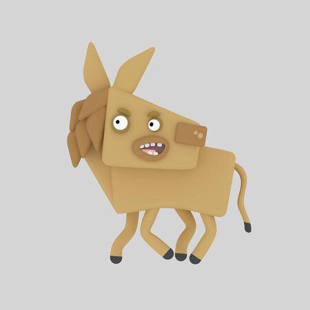 Brown horse. 3d illustration.