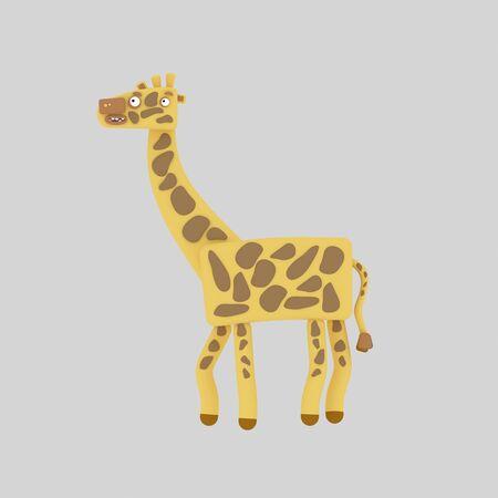 Tall giraffe. 3d illustration. Banco de Imagens