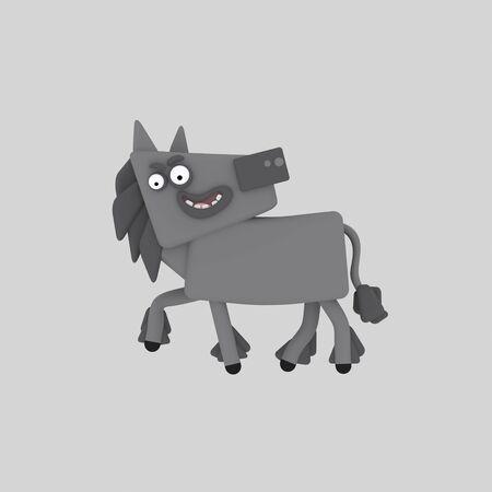 Big gray horse. 3d illustration.