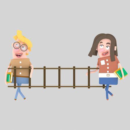 Students holding a wood ladder. 3d illustration