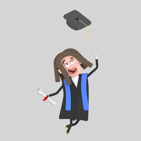 Graduate girl jumping with her cap in the air. 3d illustration Banco de Imagens