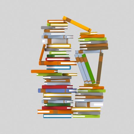Mountain of books. 3d illustration