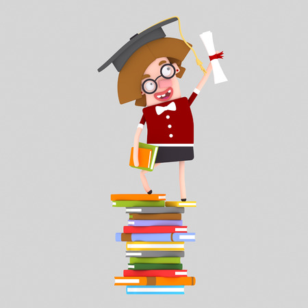 Graduate young girl leaning on a stack of books. 3d illustration Banco de Imagens