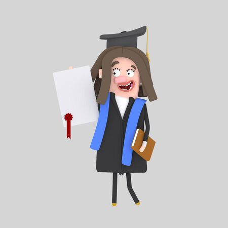 Graduate girl with diploma paper. 3d illustration