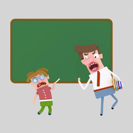 Nagging teacher. 3d illustration