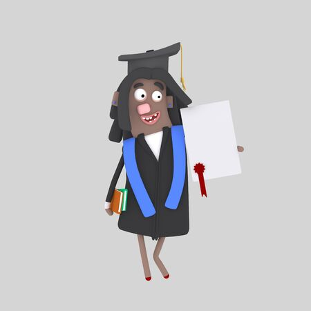 Graduate black woman with diploma paper and book. 3d illustration