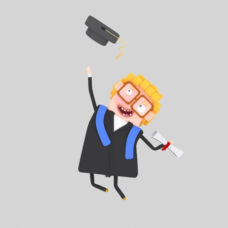 Graduate boy jumping with his cap in the air. 3d illustration