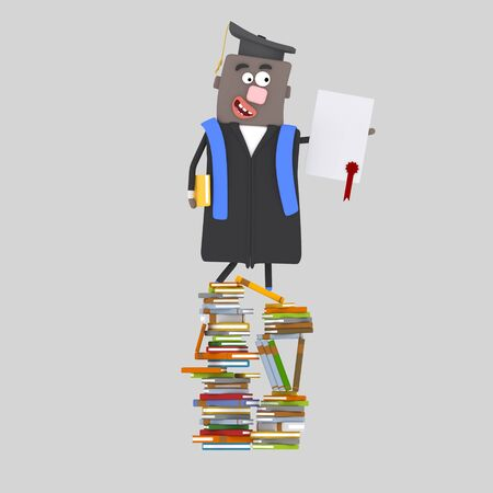 Graduate balck boy with diploma paper on a mountain of books. 3d illustration