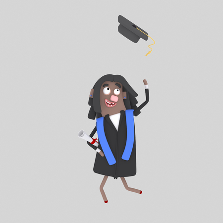 Graduate black girl jumping with her cap in the air. 3d illustration