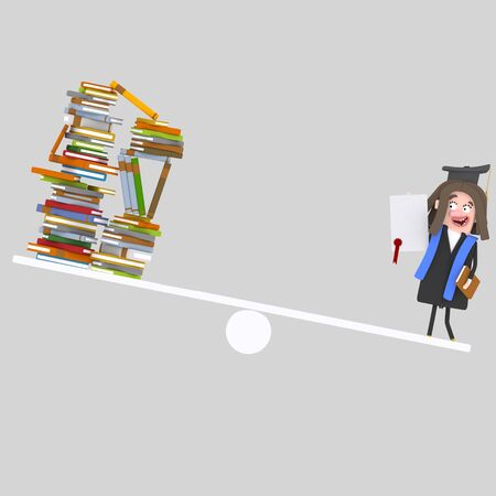 Graduate student balance. 3d illustration